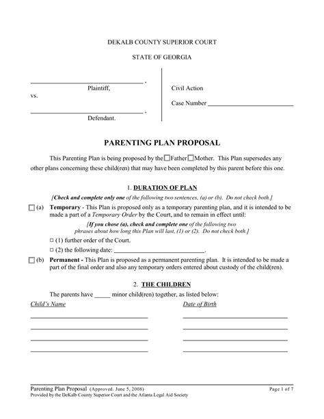 shared parenting plan template parenting plan template e commercewordpress