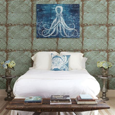 brewster teal tin ceiling distressed tiles wallpaper
