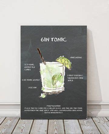 gin tonic recipe chalkboard printable cocktail