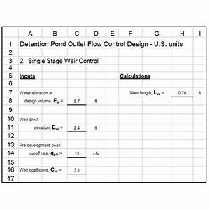 Excel Spreadsheet Templates For Storm Water Detention Pond
