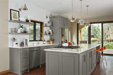 chelsea gray cabinets gray floating shelf transitional kitchen benjamin 229