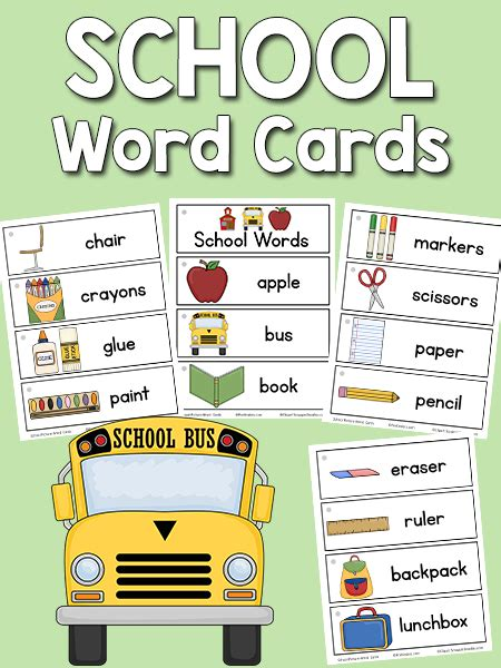 school picture word cards prekinders