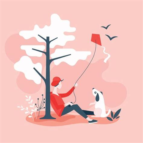 with pet flying kite on hill by a tree free vector stock graphics