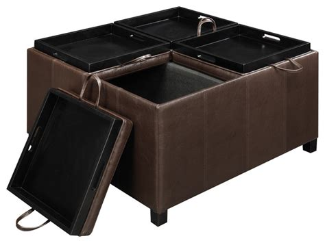 ottoman with tray top times square ottoman with 4 tray tops espresso
