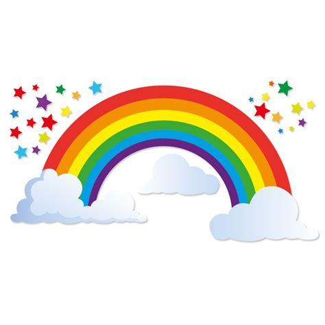 deco chambre bébé sticker arc en ciel et étoiles et nuages pour enfants par