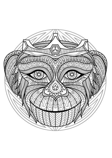 complex mandala coloring page  monkey head  difficult mandalas  adults