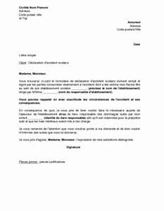 Lettre Declaration Sinistre : lettre de d claration d 39 accident scolaire son assureur mod le de lettre gratuit exemple de ~ Gottalentnigeria.com Avis de Voitures