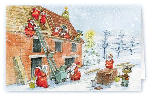 lustige handwerker weihnachtskarte fuer dachdecker firma