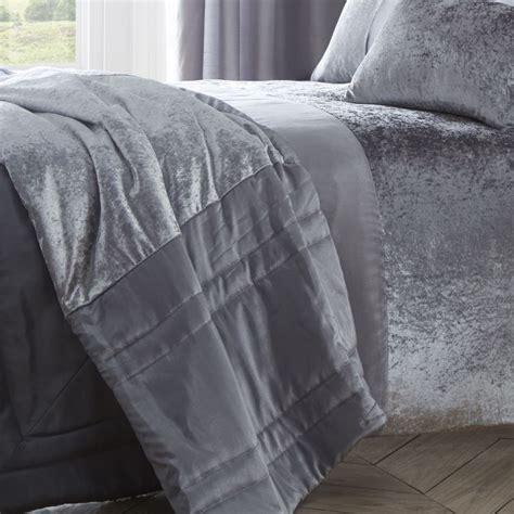 Boulevard   Crushed Velvet   Grey  Bedspread     Tonys