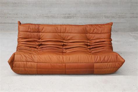 canape togo ligne roset vintage cognac leather togo set by michel ducaroy for