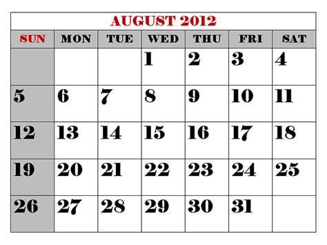 August 2012 Calendar   Fashion Teller House