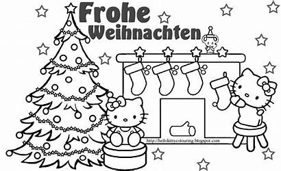 Coloring Christmas Kitty Hello German Pages Weihnachten
