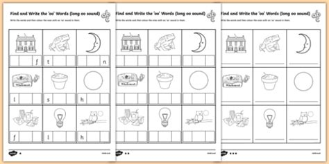 find  write  long oo sound words differentiated