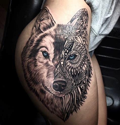 inspirational geometric mosaic wolf tattoo  alan barbosa