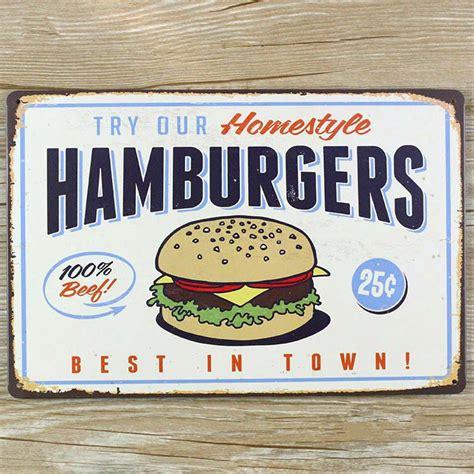 plaque metal cuisine 2015 quot hamburgers quot tin metal signs vintage house cafe