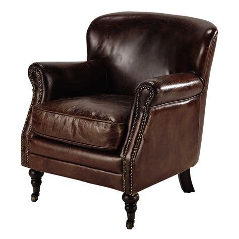 fauteuil 224 roulettes en cuir marron orson maisons du monde