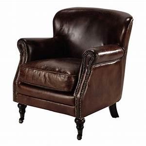 Fauteuil Cuir Maison Du Monde : fauteuil roulettes en cuir marron orson maisons du monde ~ Teatrodelosmanantiales.com Idées de Décoration