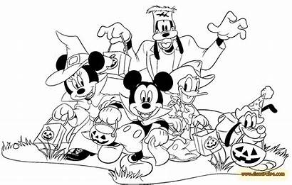 Mickey Coloring Mouse Pages Halloween Friends Colouring