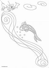 Koi Coloring Fish Pages Carp Pond Sky Water Popular Colorings Coloringhome Flying sketch template