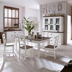 Esstisch Stühle Weiß : komplett landhaus esszimmer 9 tlg set massiv wei braun ~ Michelbontemps.com Haus und Dekorationen