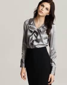 Gray Silk Satin Ruffle Blouse Women