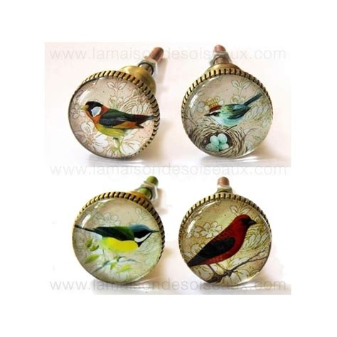 bouton de tiroir original boutons de meuble oiseaux en verre chehoma