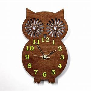 Wall Clock Modern Wooden Owl Silhouette Home Decor with