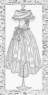 Coloring Pages Dress Printable Colouring Patterns Adults Mannequins Form Dresses Adult Sheets Embroidery Line Sheet Corsets Victorian Vetements Lingerie Corset sketch template