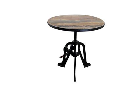 Industrial Style Crank Rustic Dining Room Table