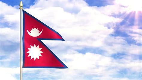 flag  nepal sky background stock footage video