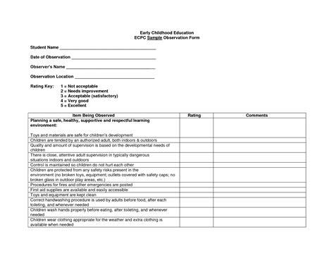preschool observation examples best photos of preschool observation checklist form 140