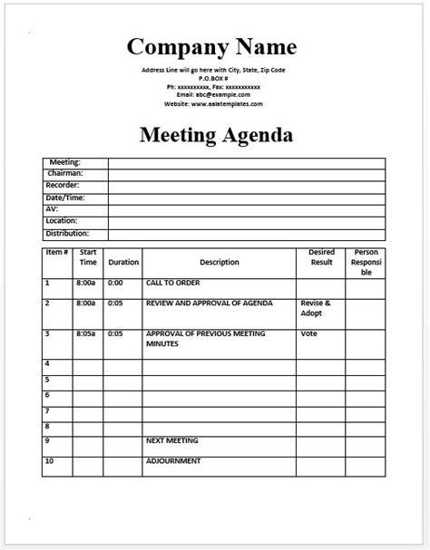 meeting agenda template official templates pinterest