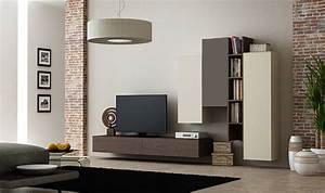 Meuble Sous Tv Suspendu : ensemble suspendu meuble tv avec rangements muraux en ch ne ~ Teatrodelosmanantiales.com Idées de Décoration