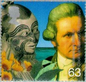 Stamp: Captain Cook and Maori (Captain James Cook's ...