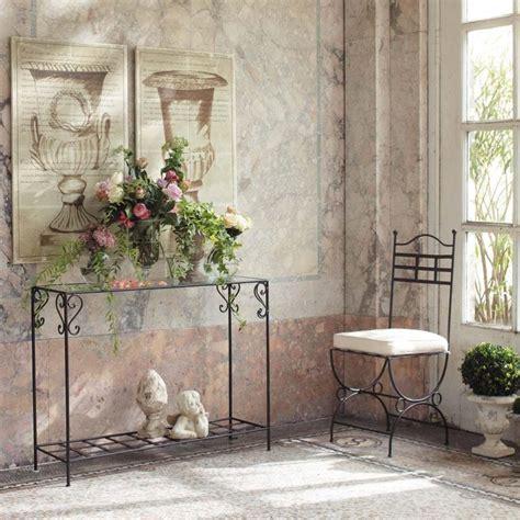 table console en fer forge  verre marron   cm toscane maisons du monde meubles