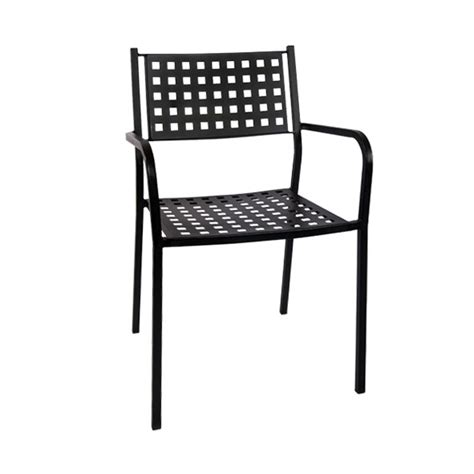 black metal patio stack chair with armrest