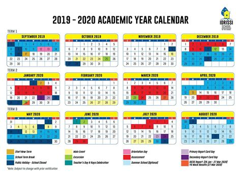 academic calendar idrissi international school