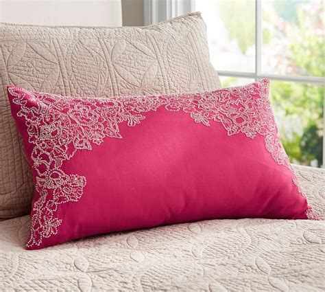 Maddie Beaded Lumbar Pillow Cover Traditional by Floral Frame Beaded Lumbar Pillow Cover Pottery Barn