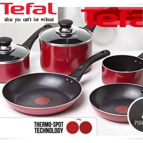 tefal pleasure  piece cookware set red  stick
