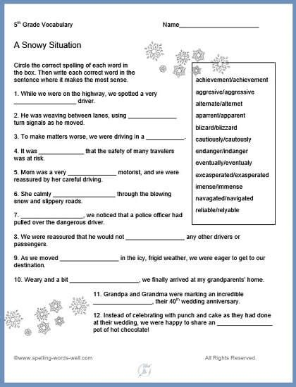 5th grade vocabulary worksheets