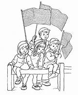 Coloring 4th July Parade Watching sketch template