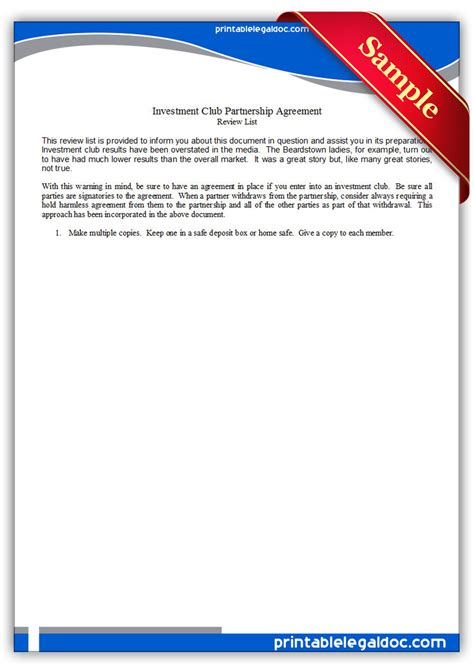 printable investment club partnership agreement form