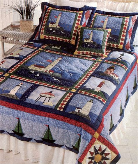 Boat House Quilt Set by Sailboat Comforter Sailboat Lighthouse Quilt Seaside