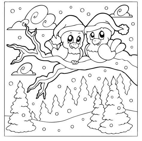 kostenlose malvorlage winter zwei voegel im winterwald zum