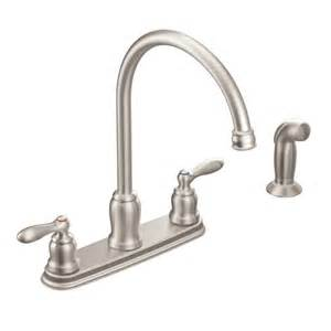 kitchen faucet moen caldwell spot resist stainless two handle high arc kitchen faucet ca87060srs moen