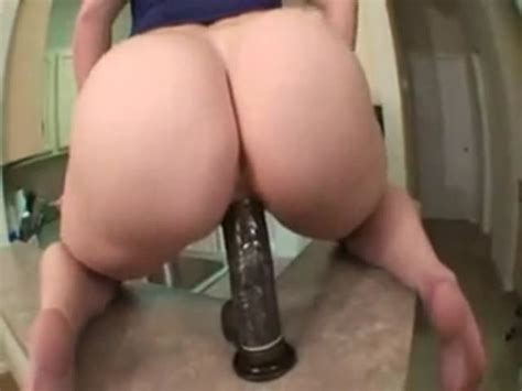 Wife Rides Black Dildo Mounted On The Kitchen Counter At