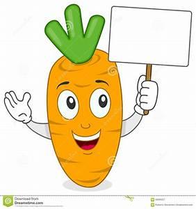 Cartoon Carrot Holding A Blank Banner Stock Vector - Image ...