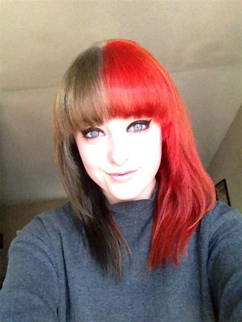New Hair Half Black Half Red Hair Colored Pinterest