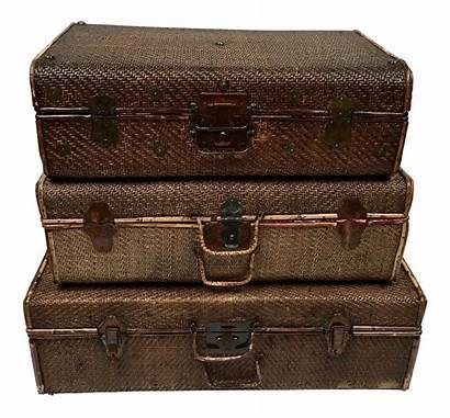 Suitcase Luggage Wicker Suitcases Stacking Wood Rattan