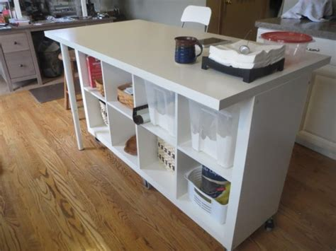 ikea kitchen table hack extendable kitchen island using expedit and linmon ikea